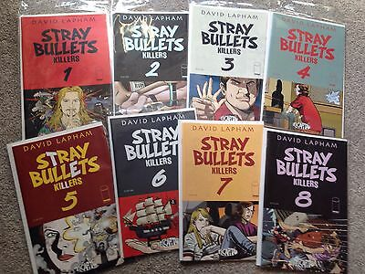 STRAY BULLETS Killers, Issues 1-8, Complete Set! First Prints. 1st, Lapham.