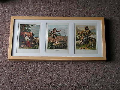 A Framed And Glazed Set Of Three, Antique, Leighton Brothers' Chromo-Lithographs