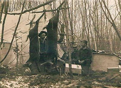 Antique HUNTING Real Photo PC ~ DEER HANGING in CAMP w/Heated TENT & HUNTERS