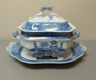 """RARE EARLY SPODE'S """"CAMILLA"""" BLUE SOUP TUREEN & MATCHING 17"""" TRAY, c. 1891-1920"""