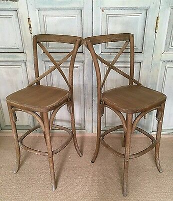 Pair of Vintage Limed Bentwood Framed Bar Chairs