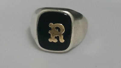 """Vintage Sterling Silver Initial """"R"""" Ring Estate Size 9"""