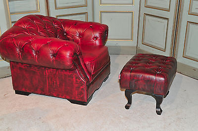 Vintage English Chesterfield Tufted Leather Arm Chair with Ottoman