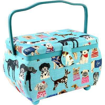 """Sewing Basket Rectangle 10.5""""X6""""X7"""" Puppies Print 072879625707"""