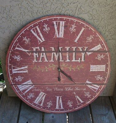 BiG Wall RED Family CLOCK*Primitive/French Country/Cabin Decor*Christmas Gift!