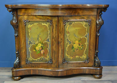 Antique Victorian Rosewood Side Cabinet With Painted Panels Circa 1860