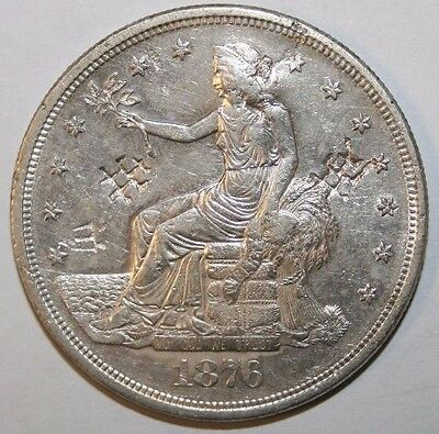 1876-S Chop Marks UNC Trade Silver Dollar P44