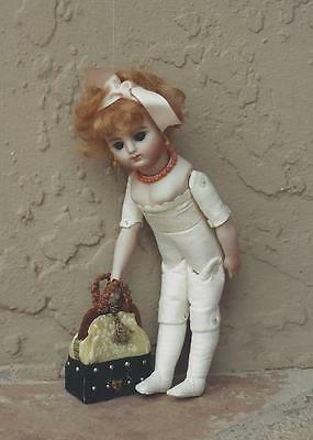 """6""""antique French/german Child Doll Button Hinged Jointed Leather Body Pattern"""