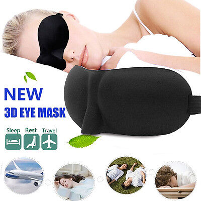 Unisex Black 3D Soft Padded Blindfold Eye Mask Travel Rest Sleep Aid Shade Cover