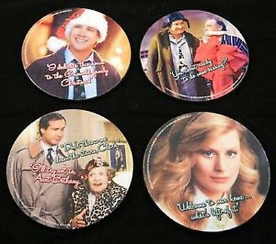 4 National Lampoon's Christmas Vacation Drink Coasters Chevy Chase NEW plastic