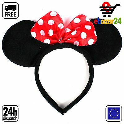 MINNIE MOUSE EARS WITH RED BOW HEAD BAND FOR DISNEY FANCY DRESS Headwear *Envío