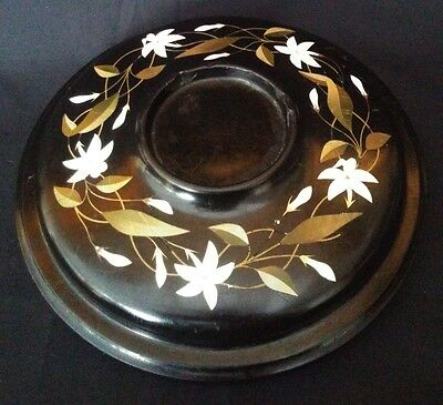 Antique Victorian Pietra Dura Inkwell Stand 8 Inches Very Rare