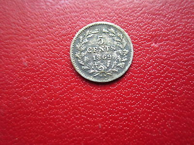 Netherlands  1869  5 Cents   Silver