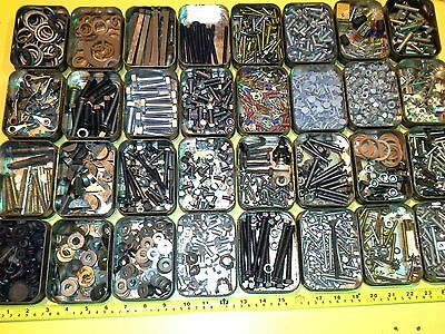 Small Job Lot Nuts Bolts Pins Washers 32 Tins Mixed Fixings Screws To Clear