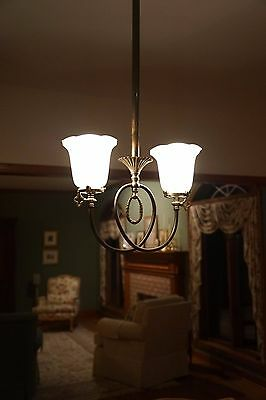 Antique vintage brass chandelier with frosted etched glass shades