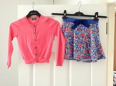 Girls Next Outfit Skirt And Cardigan Age 7-8 Years Pink And Floral