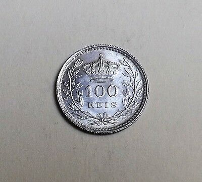 Portugal 1910 Hundred Reis A/unc Very Nice Rare Coin