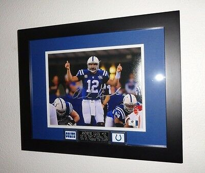 Andrew Luck Signed Indianapolis Colts Framed Autograph 8X10 Photo GA Global COA-