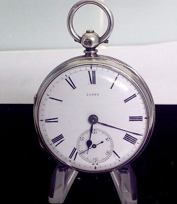 Antique Solid Silver  Fusee Pocket Watch  55282 Paired  1880 London