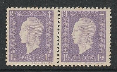 1944 FRANCE 1f Lilac Marianne Stamps Pair MNH