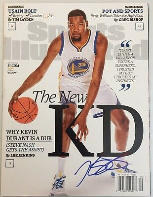Kevin Durant Auto Autograph Signed Sports Illustrated Magazine Warriors