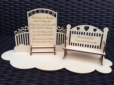 wooden laser cut Christmas in heaven decoration with chair or bench