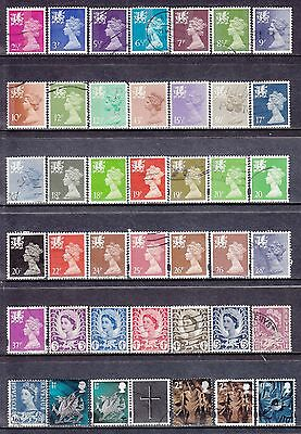 Collection Of 41 GB QEII WALES Regional Issues SG W Series Used Stamps