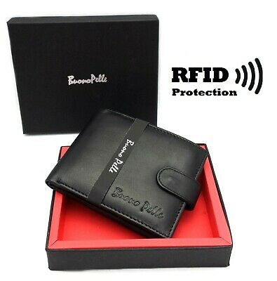 RFID SAFE MENS DESIGNER REAL LEATHER WALLET With LARGE Zip Coin Pocket / Pouch