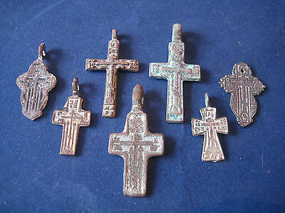 The collection of medieval crosses. Metal detector finds.