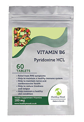 Vitamin B6 Pyridoxine HCL 100mg Food Supplement 30/60/90/120/180 Tablets Pills