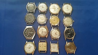 LOT OF 16 MEN'S MECHANICAL USED WRISTWATCHES for parts