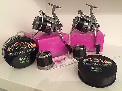 Diawa Crosscast X 5000 Carp Reels (x2), With Korda Touchdown 12lb And 20lb Line