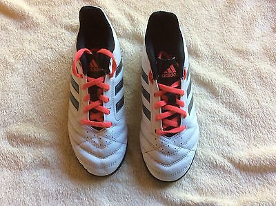 Adidas Trainers Junior Size 3. In white with silver, Black & Coral Red Detail