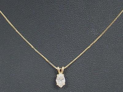 """14K Yellow Gold 18"""" Chain Necklace .40 Carat Marquise Diamond Solitaire Pendant"""