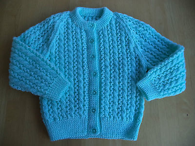"Girls hand knitted lacy cardigan 22"" chest approx age 2-3 years Turquoise"