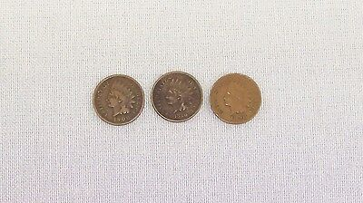 Three Usa One Cent Indian Head Coins 1880, 1898, 1906. Rare And Collectible.