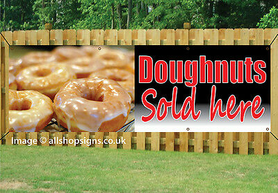 DOUGHNUTS FRESHLY MADE HERE SIGN waterproof banner PVC with Eyelets 002