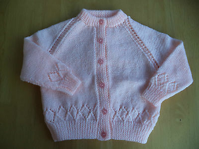 """Girls hand knitted cardigan 23"""" chest approx age 2-3 years Peach"""