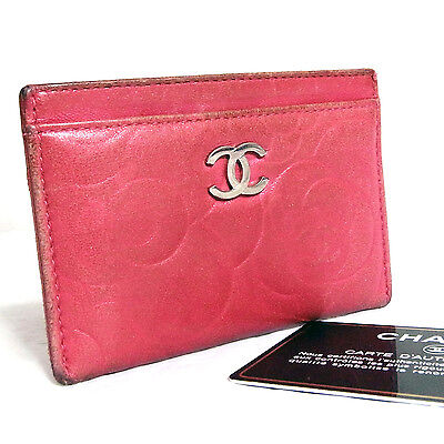 Auth Vintage Chanel Camellia CC Name Card Case Dark Pink Lamb Leather Made Italy