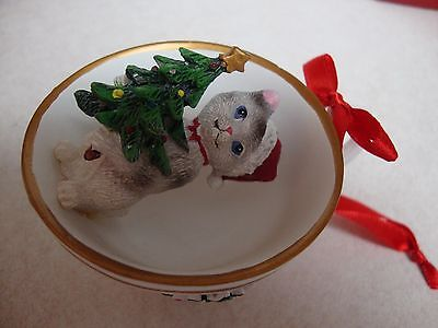 Cat in Tea Cup Christmas Ornament ~Collections EtcResin Kittens~ Porcelain Cup