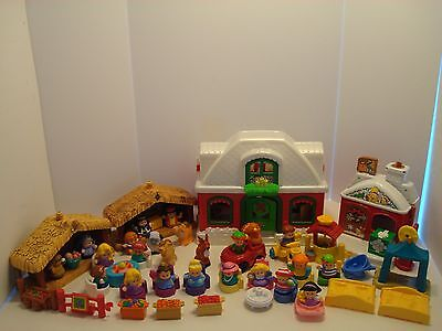 HUGE LOT Fisher Price LITTLE PEOPLE Christmas NORTH POLE COTTAGE NATIVITY & MORE