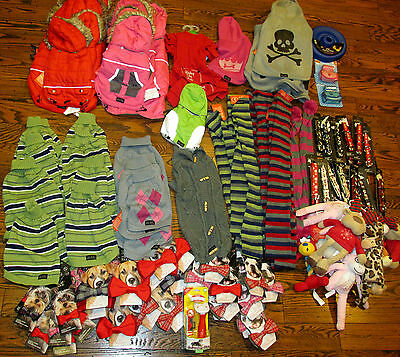 DOG pet supplies WHOLESALE LOT (97) sweaters jackets bowties toys leashes NEW