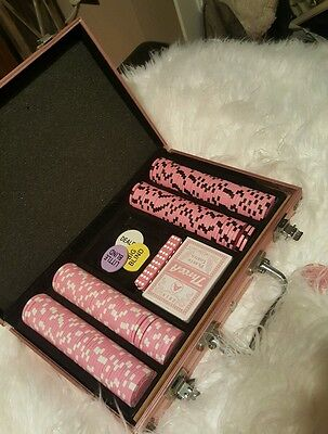 200 Texas Hold'em Pink Chip, Dice and Card Set inc Case