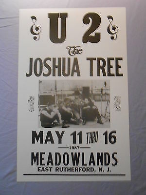 """U2 & THE JOSHUA TREE MEADOWLANDS EAST RUTHERFORD 1987 CONCERT POSTER 14"""" x 22"""""""