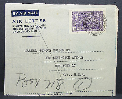 Trinidad and Tobago Stationery Air Letter to NY USA Luftpost GS Brief (L-63
