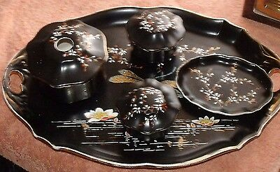 Vintage Dressing Table Set With Dragonfly Design Tray