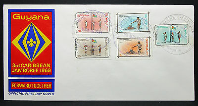 Guyana Official FDC Caribbean Jamboree Scout Pfadfinder Ersttags Brief (I-8637+