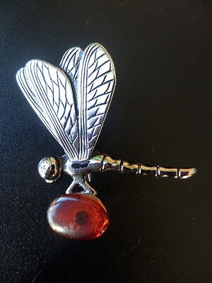 Baltic Amber  Dragonfly Brooch Jewellery 8,8 gr