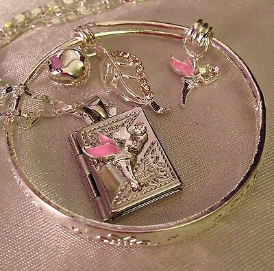"Fairy Book Locket/sterling Silver 16"" Chain+925 Bangle&charms/boxed."