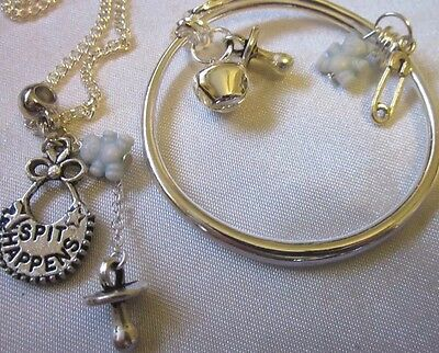 "925 BABY BANGLE. Sterling Silver Chain 16""+ Bib Charms Boxed"